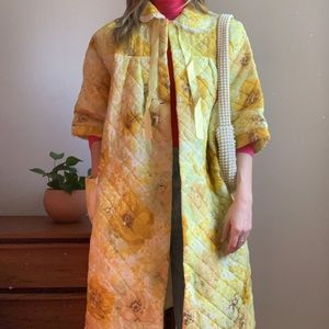 Vintage Quilted Yellow Oversized Housecoat OS